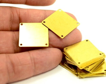 10 Pcs. Raw Brass 30x30 mm Square 4 HoleStamping Blanks Findings