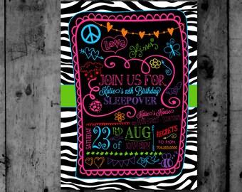 Colorful Zebra Print Sleepover Doodles Tween Teen Birthday Printable Invitation