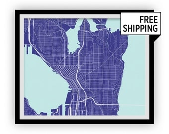 Seattle Map Print - Any Color You Like
