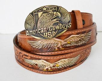 american cowboy leather belt USA