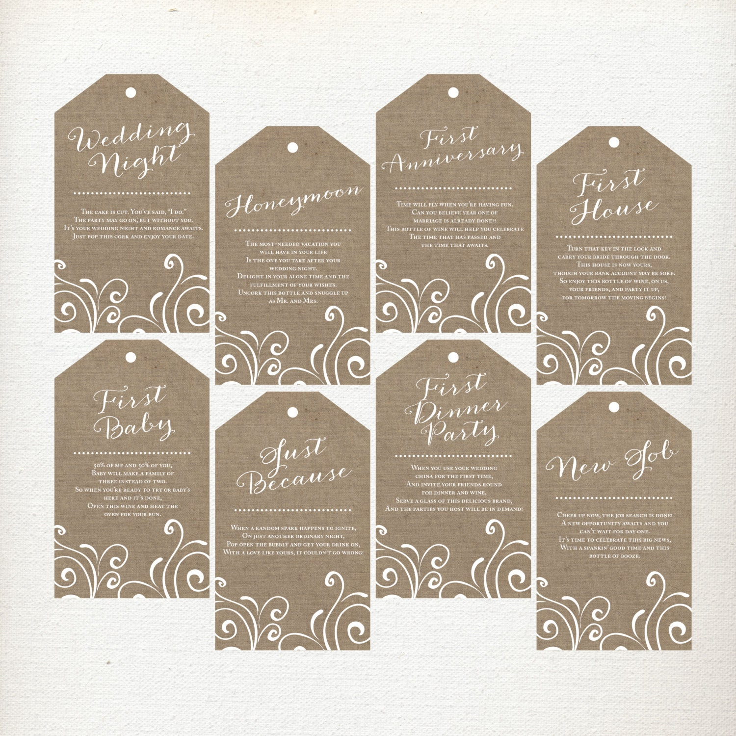 Wedding Milestone Wine Labels A Year Of Firsts Wine: CUSTOM Wine Poem Tags Year Of Firsts Wine Tags Wine Gift
