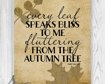 Emily Bronte Fall Typography Art Print or Canvas, Autumn Typography Art, Fall Art, Halloween Art, Holiday decor, Fall Home Decor, Wall Decor