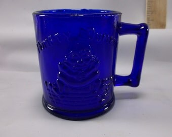Humpty Dumpty & Tom Tom The Piper's Son Glass Mug, Cobalt Blue .epsteam