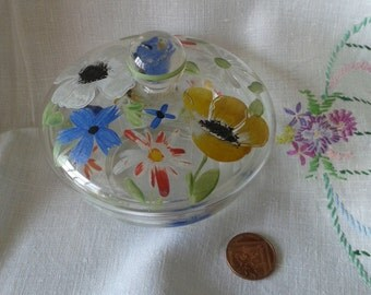 Hand Painted Vintage Glass Lidded Dish