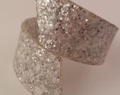 RESERVE for MARTA Lucite Confetti Sparkle Clamper Cuff Bracelet 50s Vintage