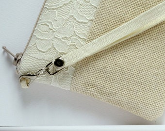 Bridal bag Ivory clutch Wedding clutch Personalized bridesmaid set 3,5,7 Beach wedding Summer wedding  Rustic clutch Burlap clutch