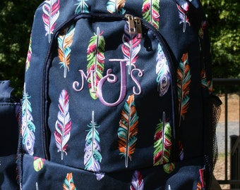 Girls Monogrammed Backpack Navy Feather Girls Personalized Bookbag