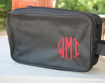 Monogrammed Black Toiletry Bag Personalized Dopp Bag Mens Gift