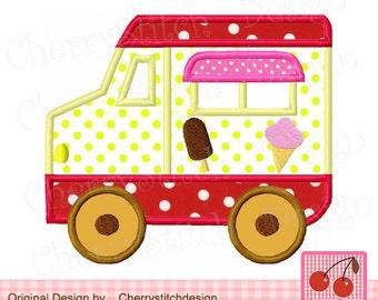"Ice Cream Truck Machine Embroidery Applique Design - 4x4 5x5 6x6"""