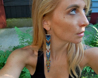 The Abbi- Extra- Long Woven Seed Bead Fringe Earring