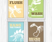 DIGITAL Dinosaur Bathroom Wall Art Set : Instant Download 8.5x11