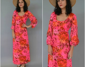 1960s psychadelic bright floral printed maxi dress