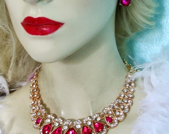Rhinestone Austrian Crystal Choker Necklace Earring Set Pink Pageant Bridal Prom