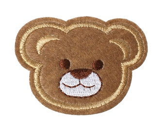 2 applications brown bear to iron-on and sew on 62 x 46 mm