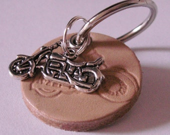 "Round leather Keyring ""Motorcycle"""