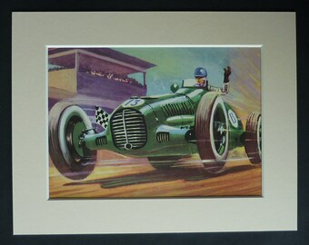 1950s Vintage Racing Car Print, Classic Automobile Decor, Available Framed, Race Art, Retro Motoring Gift, Boys Wall Art, Motorsport Picture