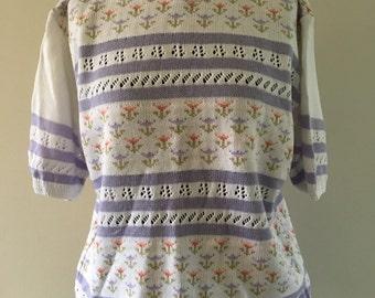 SALE Vintage Oversized Short Sleeved Sweater Jumper Knitted