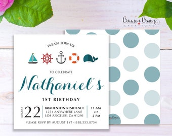 Nautical Child's Birthday Invitation - Baby, Toddler, Kid's Whale Birthday Party Invite - Sailor Party - Digital File