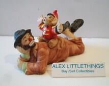 Flambro Emmett Kelly Jr Hobo Clown Monkey Figurine