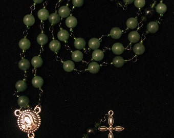 Green Aventerine and Jet Rosary
