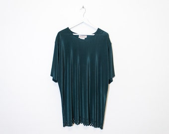 dark green silky ribbed t-shirt / loose oversized cut-out tee / size XL / XXL
