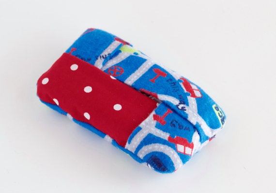 Blue Cars Travel Tissue Holder, Red Polka Dot Pocket Tissue Cover, Blue, Gray, and Red Polka Dot Cotton Fabrics, Handmade