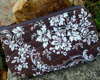Brown Quilted Cosmetic Bag, Toille Makeup Bag, Zippered Case