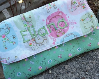 Personalized Diaper Clutch, Wet Wipe Case