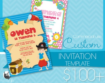 Custom Invitation template, Prettygrafik invitation Commercial use, custom Graphic Design,Jpeg,Png, Eps, AI Exclusive commercial artwork