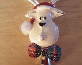 Adorable Vintage Enamel Reindeer With Bell Brooch