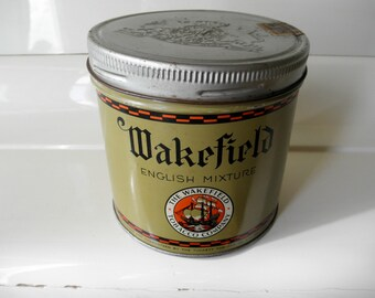 Wakefield English Mixture Tobacco Tin Advertising With Crest Embossed Lid By the Tuckett Tobacco Co Limited Hamilton Canada