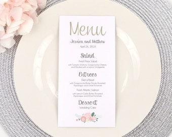 PRINTED Wedding Menu, Dinner Menu, Reception Menu, Menu Card, Floral, Flowers, Watercolor, Simple, Classy, Romantic, SIMPLY RUSTIC Design