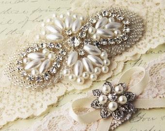 20% OFF Ivory Lace Garter Set, Wedding Garter Set, Ivory Bridal garter Set, Rhinestone Garter, Lace Wedding Garter