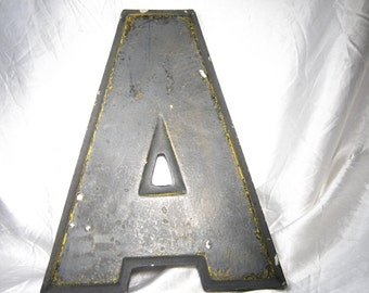 "VINTAGE INDUSTRIAL SALVAGLE Large Sign Marquee Wall Letter  'A'- Metal 10"" tall"