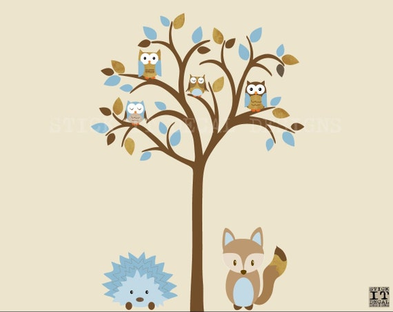 owl tree decal owl tree wall sticker fox hedgehog owl nursery art