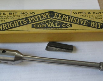 Vintage Wrights Expansive-Bit - ConValCo. in original box - Large Bit NO. 10 with 2 cutters