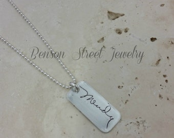 Sterling Silver Etched Name Pendant
