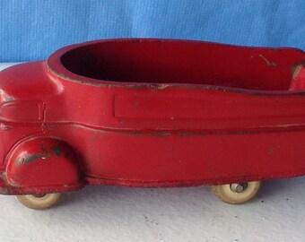 Sun Rubber futuristic art deco streamlined Truck 59 toy open back red USA antique 1940's