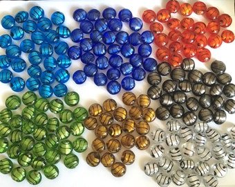 BLOWOUT SALE!! 188 pcs Assorted Colorful Handmade Silver Foil Glass Beads, Flat Round Shape, about 15mm in diameter, 9mm thick, hole: 2mm