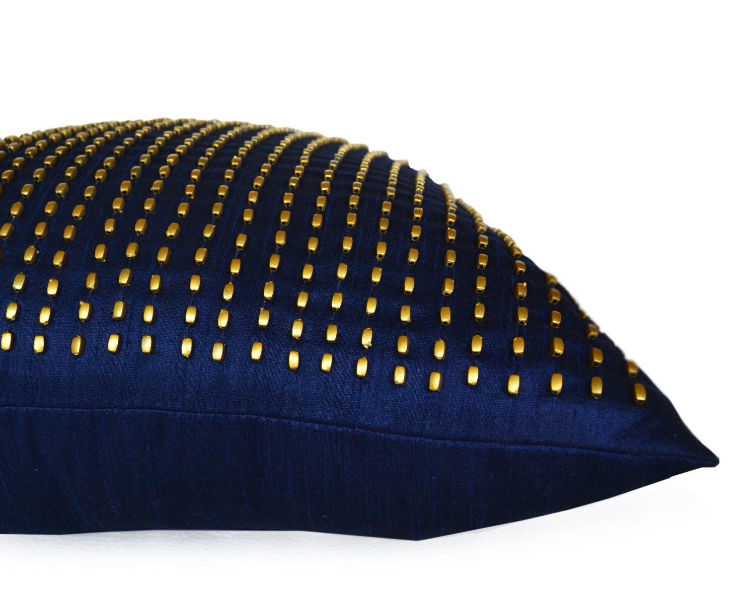 Etsy Navy Throw Pillow : Decorative Throw Pillow Navy Gold Silk Pillow Cover Beaded