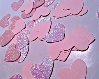 Set of 50 pink and glitter HEARTS confetti, wedding stars, baby shower, bridal shower, girls boys, children birthday party,table decorations