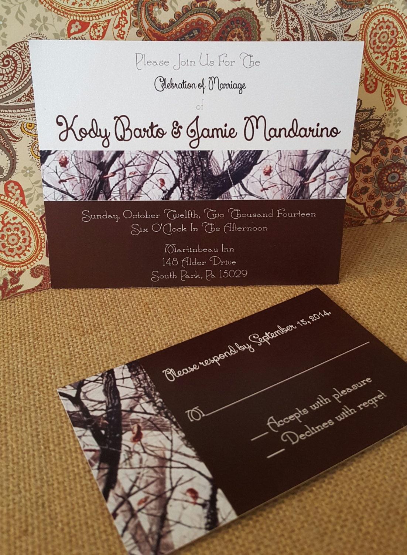 snow camo wedding invitation printable