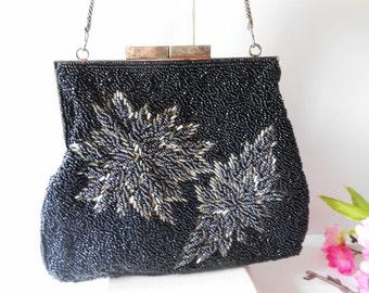 Beaded Clutch Bag, Vintage Evening Bag, Black Grey Clutch, Black Grey Beading, Clutch Handbag, Beaded Evening Bag, Glamorous Purse, EB-0733