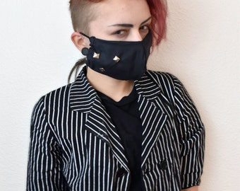 studded accent black surgical mask