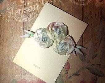 Original BOAG Circa 1920's Flapper Era Pastels  Floral Rosette Ribbonwork Applique on Original Card Lingerie