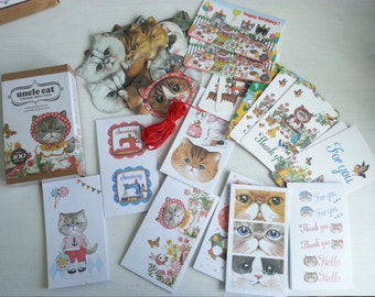 Uncle Cat Sticker Set - 20 Bookmarks + 10 Minicards + 70 Stickers