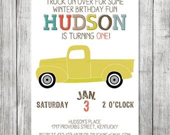 Boy Truck Birthday Invite - 5x7 JPG