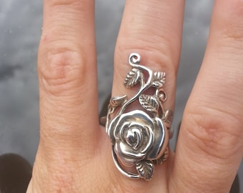 Long rose ring sterling silver alternative steampunk gothic art nouveau victorian
