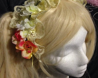 Pastel yellow lace and floral headband