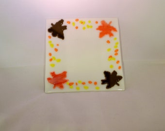 Fused Glass Thanksgiving Plate. Candle Plate, Fall Plate